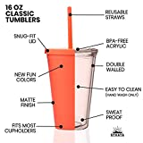 Tumblers with Lids (4 pack) 16oz Pastel Colored