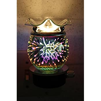 Navillus - 3D Fireworks and leaves night Light Plug-in - Oval Shape, Beautiful design, oil warmer with dimmer in Multicolors color