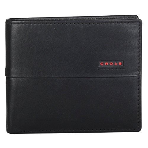 cross-men-genuine-leather-bifold-coin-wallet-with-credit-card-and-currency-compartment-black-red