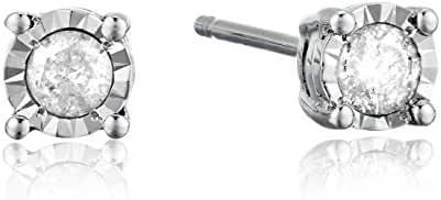 Sterling Silver Round Diamond Solitaire Stud Earrings (1/5 cttw, I-J Color, I2-I3 Clarity)