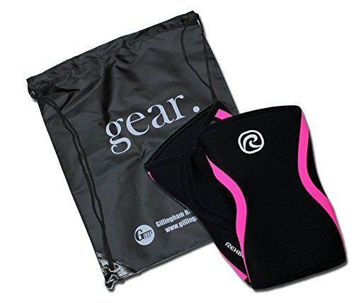 Rehband 7751 Knee Sleeves (1 Pair) Bundled Gillingham High Performance Backpack (Black/Pink Stripe - 7mm, 32-34cm - -