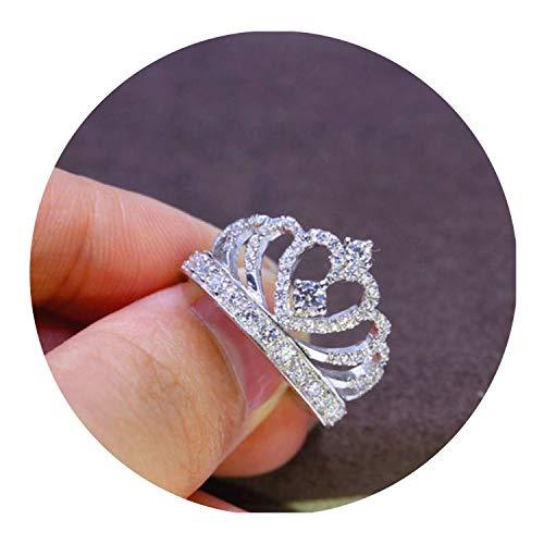 2019 Fashion Silver Crown Shape Rhinestone Crystal Rings Women Girl Wedding Bridal Party Ring -