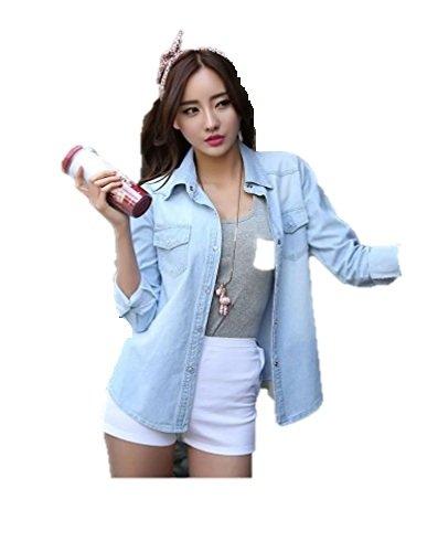 721038f0728 Raabta Fashion Women Western Sky Blue Denim Shirt for Girls  Amazon.in   Clothing   Accessories