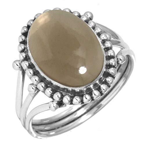 925 Sterling Silver Women Jewelry Natural Smoky Topaz Ring Size 5