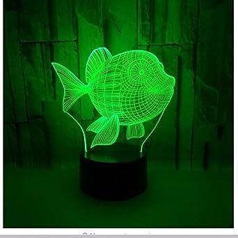 Lámpara de mesa Lindo Gold Fish 3D Led Usb Dormitorio infantil ...