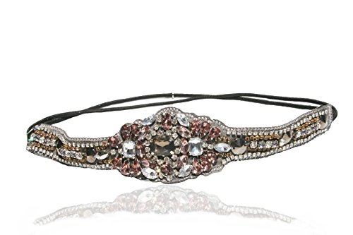 Gatsby 1920's Style Headband Elastic Stretch Headwrap with Style Guide 20 Differnt Ways to Wear