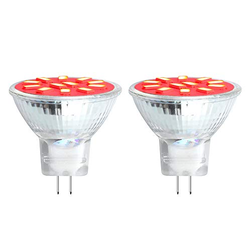 Bonlux 2W MR11 GU4.0 LED Red Light - AC/DC 10-30V LED G4/GU4 Bi-pin Base MR11 Spotlight, 20W Halogen Bulbs Equivalent for Landscape/Accent/Recessed/Track Lighting (Red, 2-Pack)