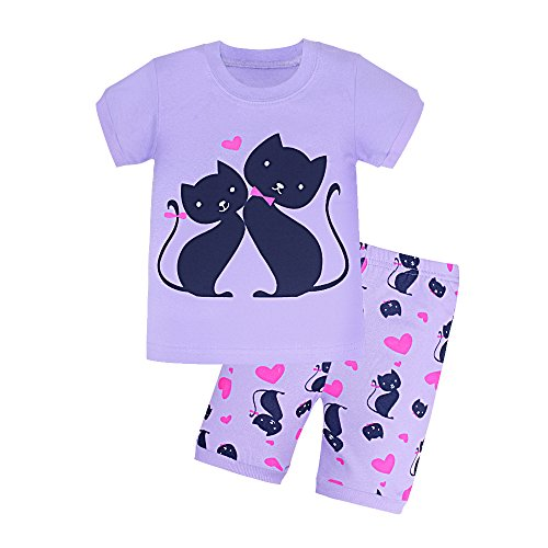 Toddler Girl Pajamas, Baby Short Sleeve Pjs Sets with Hearts Print for 2-7 Years (7, (Girls Size 7 Clothes Monster High)