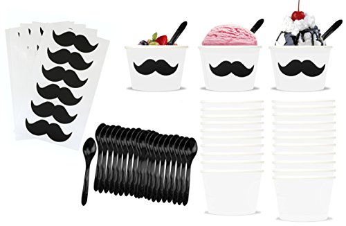 Mustache Theme Ice Cream Set with 8 Ounce