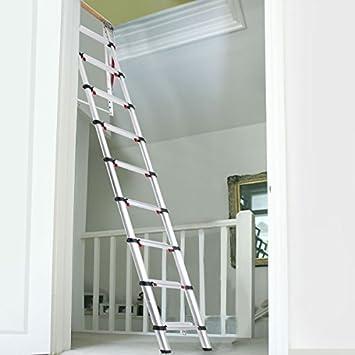 Escalera Telescópica para Buhardillas CON 9 Escalones Marca ECKMAN - Estructura con Muelles y Tabla de Apoyo: Amazon.es: Bricolaje y herramientas