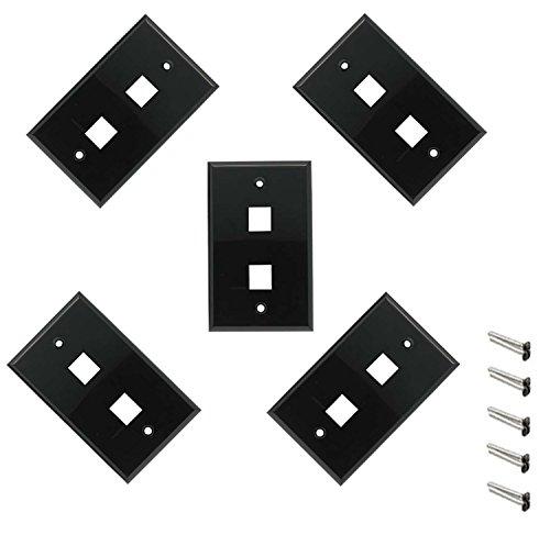 iMBAPrice 2 Port Keystone Jack Wall Plate 1-Gang - Black (Pack of 5)