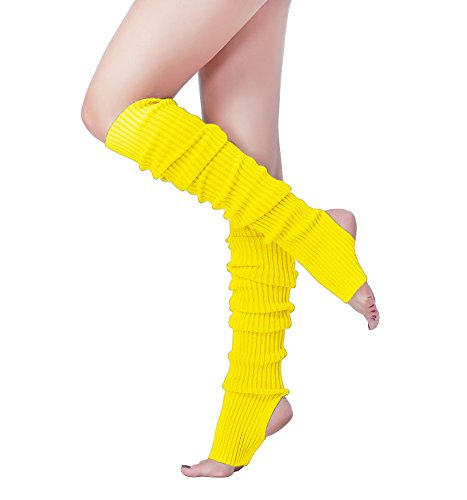 (v28 Women 80s Pink Ribbed Knit Stirrup Neon Dance Sports Yoga Long Leg)