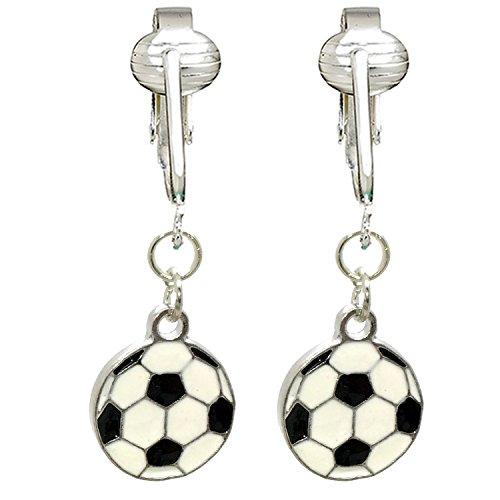 White Dangle Clip (Fun Soccer & Volleyball Clip On Earrings for Girls, Kids, Teen, Women-White & Black Balls, Summer Clipons (Soccer Balls))