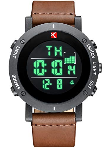 Mens Watches Man Digital Military Waterproof Sports Chronograph Watch Multifunction LED Day Date Calender Alarm Fashion Cool Casual Designer Leather Wrist Watches for Men Boys Teenagers