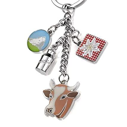 Llavero con 4 breloques, bote para leche, diseño de vaca ...