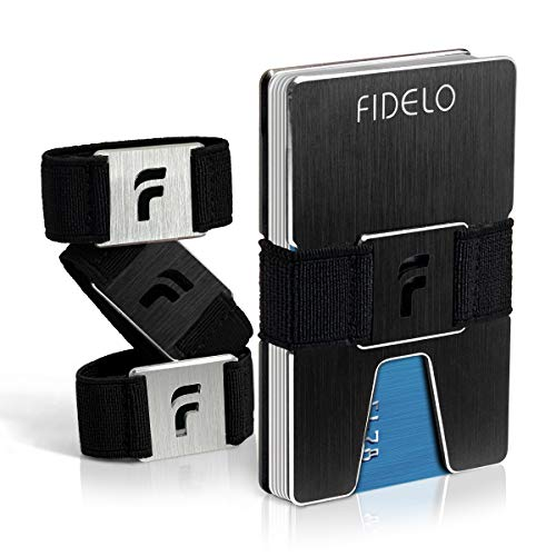 (FIDELO Minimalist Wallet for Men - Slim Credit Card Holder Money Clip - RFID Blocking Front Pocket Mens Wallets)