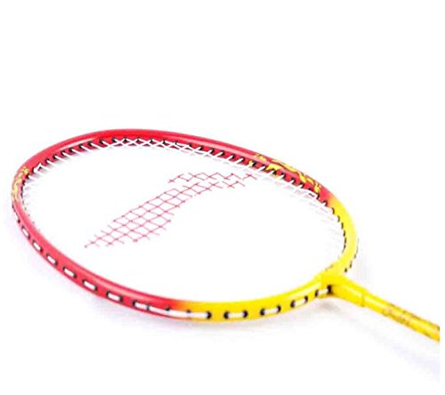 LI-NING Smash XP Badminton Racket 2018 Professional Beginner Practice Racquet with Face Cover Steel Shaft Special Edition Badminton Racket Smash (Red/Yellow, Pack of 2)