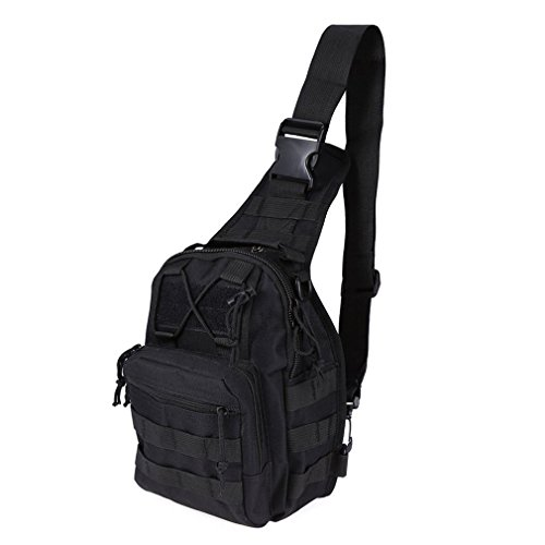 REDGO Military Tactical Backpack Shoulder Bag Sling Chest Pack for Camping Travel Outdoor Sport Hiking Trekking (Black) (Pouch Style Sling Baby)