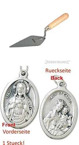 Spitzkelle 150 mm, Maurerkelle,Zungenkelle, Fugenkelle, Dreieckskelle mit einem Anhänger Herz Jesu 2,5cm