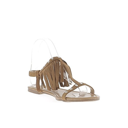camello espartanas franja Ante de sandalias finas las y con de aspecto pestañas uñas BgIqnpF