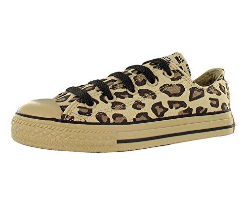 Converse Kids' All Star Chuck Taylor Animal Print Leopard Ox Casual Shoe Beige, Brown - Print Converse Cap