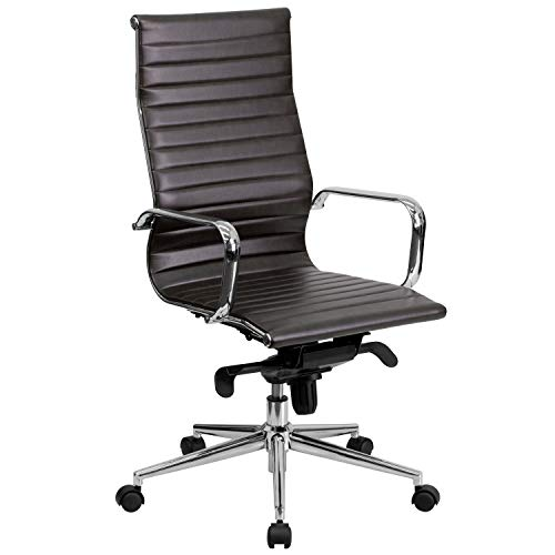 Flash Furniture High Back Brown Ribbed Leather Executive Swivel Chair with Knee-Tilt Control and Arms