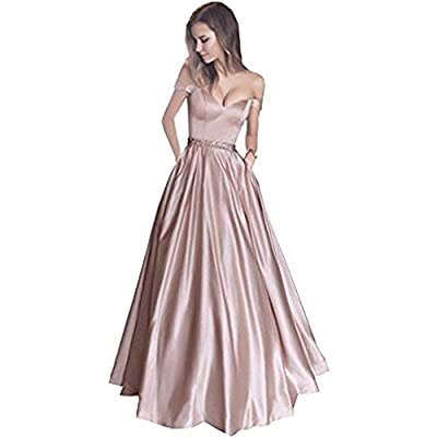 SuperKimJo Off Shoulder Beaded Prom Dresses 2017 Long Evening Gown with Pocket