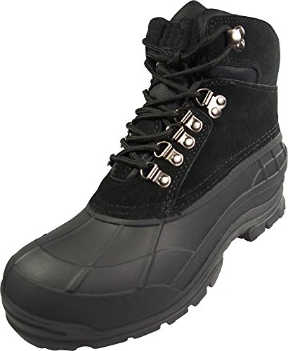 NORTY Mens Ankle Waterproof Leather Panel Thermolite Insulated Snow Boot Black