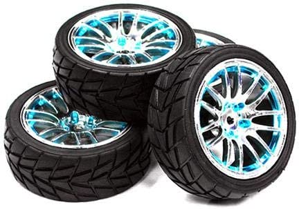 Integy RC Model Hop-ups C23435BLUE 14 Spoke Complete Wheel & Tire Set (4) for 1/10 Touring Car