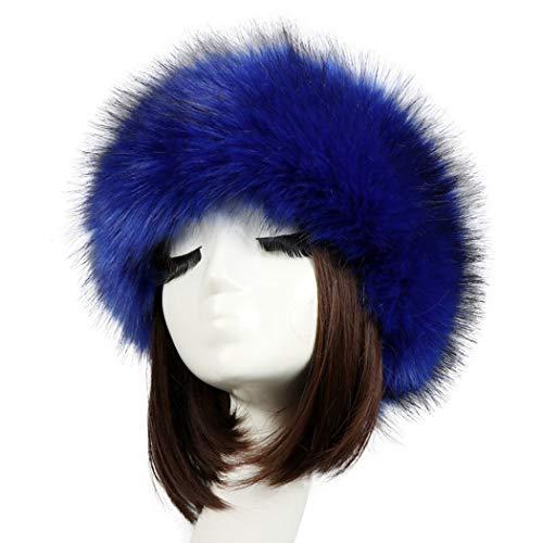 Tngan Women's Faux Fur Headband Soft Winter Cossack Russion Style Hat Cap Royal -
