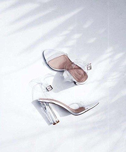 Sandalia de tacón grueso de PVC transparente de la manera simple y transparente con sandalias sandalias de tacón grueso White