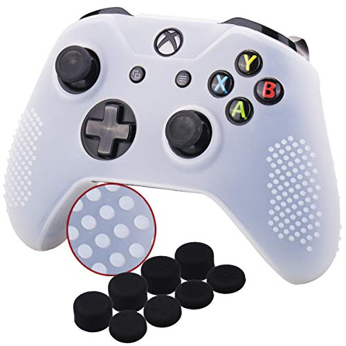 - YoRHa Studded Silicone Cover Skin Case for Microsoft Xbox One X & Xbox One S Controller x 1(Clear) with Pro Thumb Grips 8 Pieces