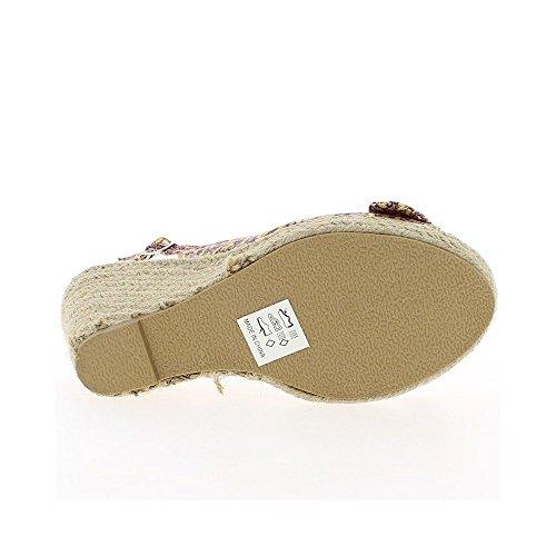 Sandales compensées roses avec motifs à talon de 9,5cm et plateau avec noeud