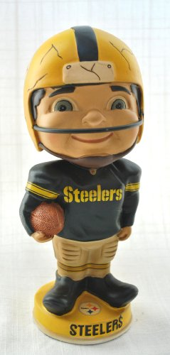 (Pittsburgh Steelers NFL retro Bobble Head in origional Box Big Head Yellow Helmet)