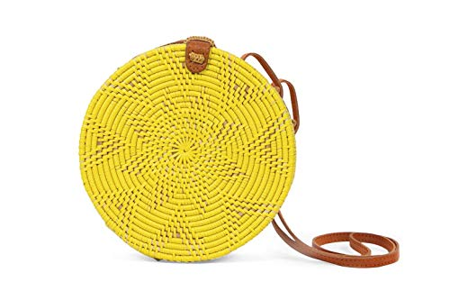 Bali Wicker - Rattan bags for Women-Yellow Wicker Woven Circle Bali Handmade Handbag