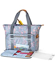 Teamoy Knitting Bag, Travel Yarn Storage Tote Organizer for Yarn, Unfinished Project, Crochet Hooks, Knitting Needles and Accessories, Lightweight, Water-Resistant, Large Capacity