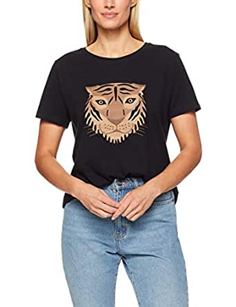 French Connection Women's Tiger FACE TEE, Black/Multi, Extra Small