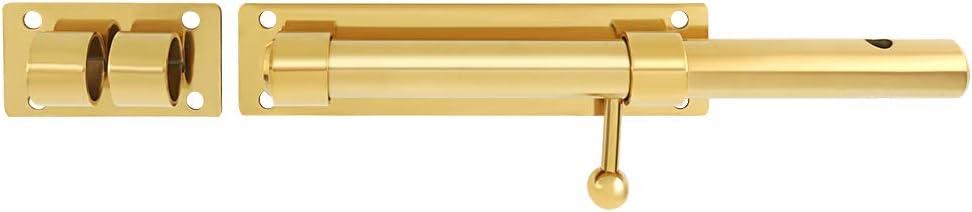 barra de 1,6 cm de di/ámetro Cerrojo de seguridad para puerta con agujero para candado de 230 mm de longitud Sayayo acero inoxidable s/ólido acabado dorado EMS9200-G no incluye candado