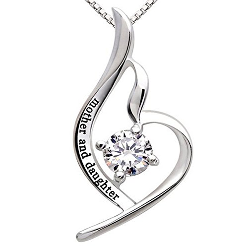 """Mother, Daughter cubic zirconia, Sterling Silver necklace."