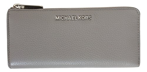 Pearl Gray Leather - Michael Kors Bedford Large Three Quarter Zip Around Pebbled Leather Wallet (Pearl Grey)