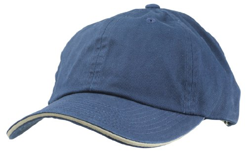 Blank Hat Chino Washed Sandwich Ball Cap in Navy Blue and Khaki (Blank Sandwich Cap)