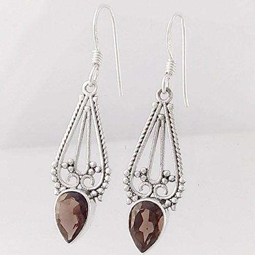 Smoky Quartz Solid 925 Sterling Silver Earrings, Handmade Jewelry for Women, Sterling Silver Earrings
