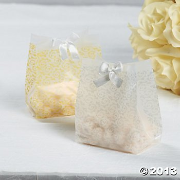 Frosted Gold Wedding Favor Plastic Vellum Bags (48 Pack) Wedding Favor Bags, Gift Wrap - Vellum Wedding Favor Bags