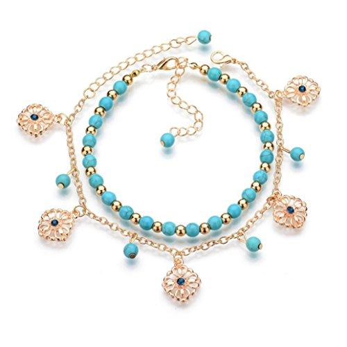 Alonea Women Bracelets on Sale, Popular Resin Alloy Lady Fashion Beach Section Double Beads Bracelet Bangle Anklet Jewelry (Blue ❤️) ()
