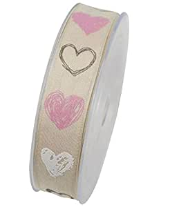 Corazón Banda Bodas o color rosa x75221B: 25mm L: 20meter con alambre