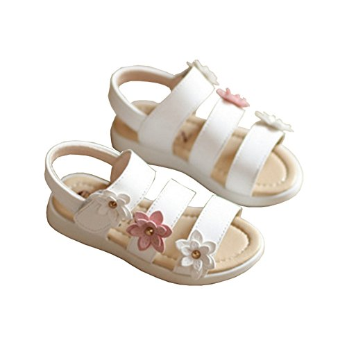 Toddler Girls Summer Flower Strappy Sandals Anti-slip Beach Flat Walking Shoes White Size 25 (Little Girl Walking)