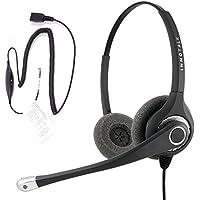 RJ9 Headset - Sound Forced Professional Binaural Headset + Virtual RJ9 Adapter for Avaya Cisco NEC Nortel ATT and ANY phone