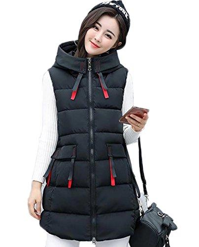 松の木天使常習者YINGCANレディース フード付き ダウンベスト 厚手 軽量 ノースリーブ ダウンコート 無地 韓国風 ファッション アウター
