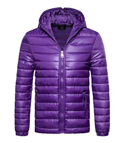 Warm Jacket Down Parkas Puffer Men's Fit Slim Outwear Jacket H Coat Purple amp;E Hooded wtEvUp