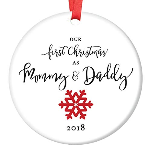 First Christmas as Mommy & Daddy 2018 Tree Ornament Infant Girl Boy Newborn Son Daughter 1st Time New Parents Porcelain Keepsake Cute Red Snowflake 3 Flat Ceramic w Red Ribbon & Free Gift Box OR00022